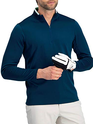 Golf Half Zip Pullover Men - Fleece Sweater Jacket - Mens Dry Fit Golf Shirts Navy Blue