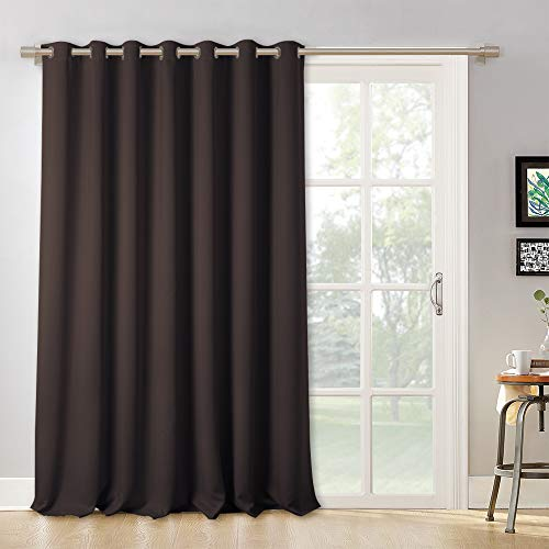 RYB HOME Room Divider Curtain - Vertical Blinds for Large Window, Screen Curtains for Patio Glass Door/Living Room/Office/Dining/Cafe Bar, Wide 100 by Long 95 inches, Brown