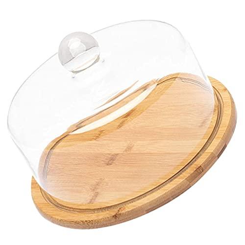 N\C DMKD Soporte de cúpula para Tartas de Vidrio Bandeja de Postre para Servir Cloche Bandeja de Madera de bambú para Aperitivos y Muffins con Tapa para Restaurante, Banquete de Boda DMKD