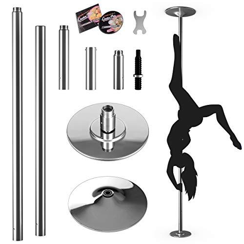 Goplus Palo Pole Dance Professionale in Acciaio Inox di 45mm,Modello Statico&Girevole, CD ed Accessori di Montaggio Inclusi, Altezza Regolabile da 2,23m Fino a 2,74m a Pressione (200kg)