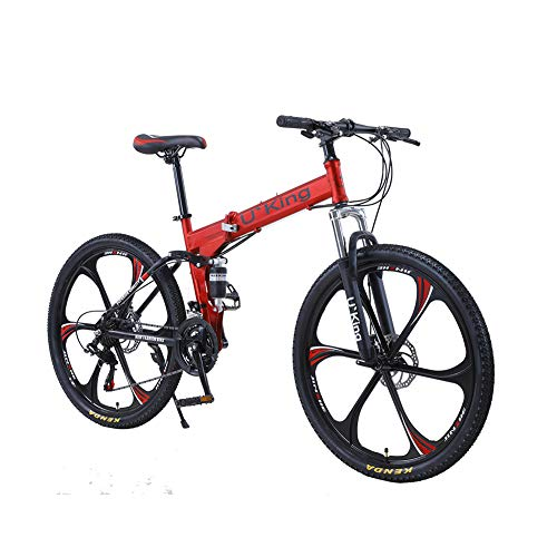 Adult Folding Bikes 26 inch 21 Speed Folding Mountain Bikes 6 Spoke Full Suspension Foldable MTB Bikes with Dule Disc Brake Shiping from USWE Warehouse (Red)