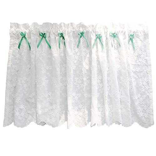 H-W Cortinas pequeñas de algodón Blanco con Estampado de Flores, Bordado de Vid, baño Semitransparente, Elegante, Suave, café, Medias Cortinas, Cortinas, Estilo Rural W140xH50cm W130xH50cm