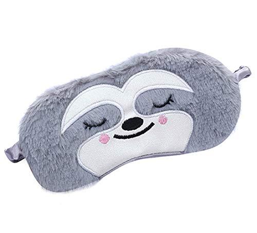 Laahoem Tierschlaf Augenmaske Nette lustige 3D Weiche Flauschige Cartoon Augenmaske Zum Schlafen Reisen Atmungsaktive Lidschattenmaske Kinder Erwachsene Frauen Faultier Grau