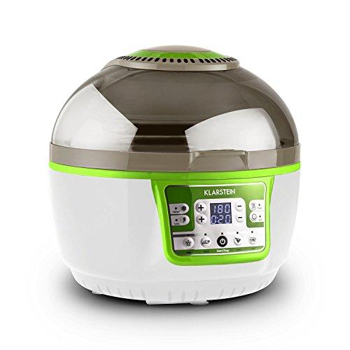 Klarstein VitAir Turbo - Heißluftfritteuse, Fritteuse, 1400 Watt, 9 Liter Garraum, fett-frei Frittieren, Backen, Grillen, Rösten, Halogen-Infrarot-Heizelement, grün-weiß