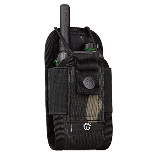 Selighting Sac Interphone Tactique Pochette Sac Molle à Ceinture en Nylon pour Walkie Talkie (Noir Camouflage)