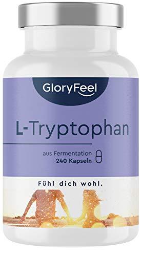 L-Tryptophan 500mg - 240 vegane Kapseln (8 Monate) - Natürlich aus pflanzlicher Fermentation - Laborgeprüfte ohne Zusätze in Deutschland hergestellt
