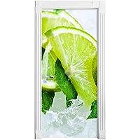 3Dドアステッカー 3D グリーンレモンドアステッカー家の装飾画像自己接着防水 Pvc 壁画紙