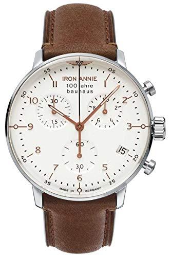 Iron annie 100 Jahre Bauhaus Herren Uhr analog Schweizer Quarzwerk mit Leder Armband 5096-4