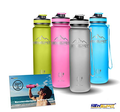 NEWSUMIT Botella De Agua Deportiva Superior Shaker - BPA Free Tritan - Todo Uso - Deporte - Gimnasio - Hogar - Oficina. (Gris, 550ml - 19oz)