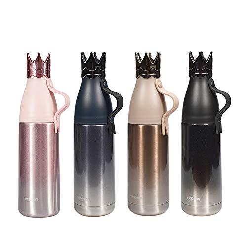 QUNUNOIRE-Taza Termo Portatil de Corona Tiara Botella Aislante de Agua Café Bebida Caliente/Fría Copa Acero Inoxidable para Niños/Adultos 350ML