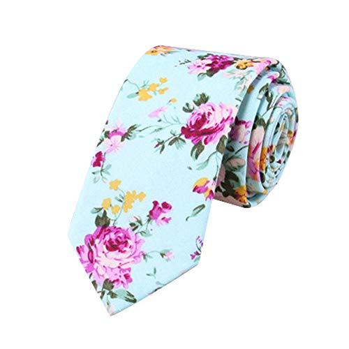 JUNGEN Corbata de algodón para Hombre Corbata Estampada de Flores Corbata Estrecha Corbata Informal Corbata Elegante para Novio Size 148 * 6cm (Verde)