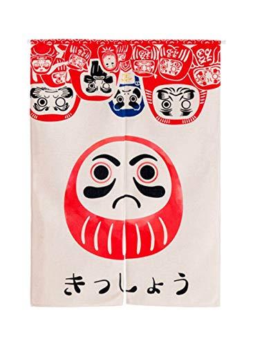 LIGICKY Cortina Larga de Estilo japonés, de Lino Grueso, para Puerta, Separador de Espacios, tapicería, para Textiles del hogar, 85 x 120 cm (muñeca Daruma)