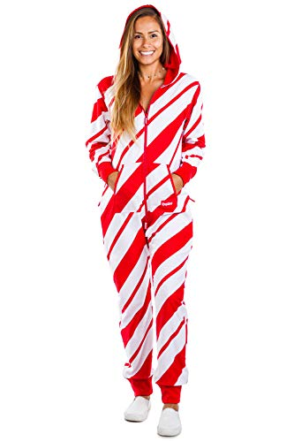 Tipsy Elves Cozy Women's Candy Cane Jumpsuit - Comfy Candy Cane Cozy Christmas Onesie: M