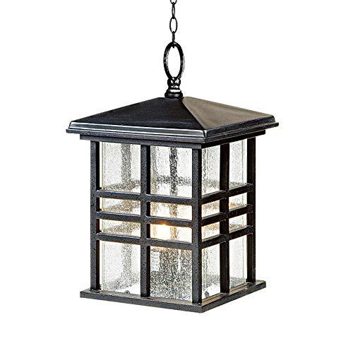 Altura impermeable al aire libre pendiente de cristal de luz tradicional japonesa lámpara del vintage externa ajustable de aluminio fundido Linternas colgantes para Villa Balcón E27