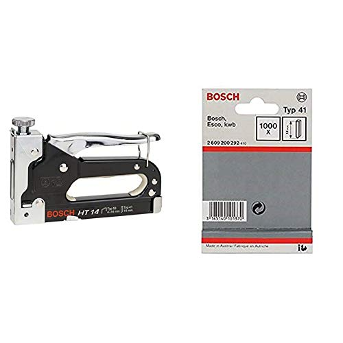 Bosch 0603038001 HT 14 - Grapadora manual, una unidad + Pasador tipo 41 - 14 mm (pack de 1000)