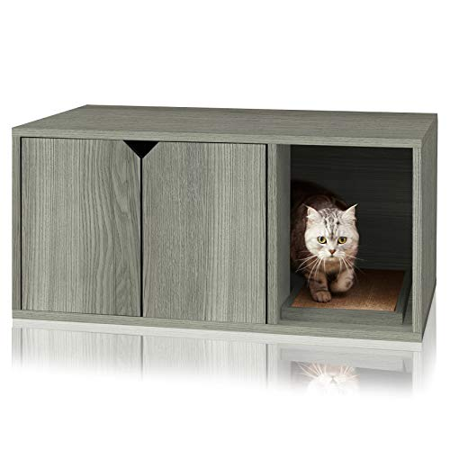Way Basics Cat Litter Box Enclosed Modern Cat Furniture (Tool-Free Assembly and Uniquely Crafted from Sustainable Non Toxic zBoard Paperboard) Grey
