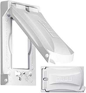 Bell Weatherproof Single Outlet Cover Outdoor Receptacle Protector, White, Vertical Flat