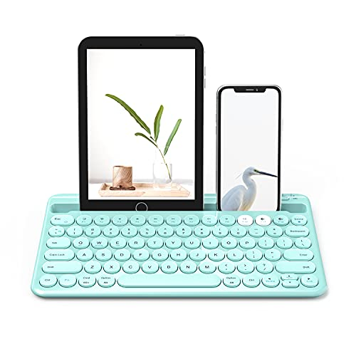 Multi-Device Bluetooth Keyboard, Universal Bluetooth Rechargeable Keyboard with Built-in Stand Slot for iPad Tablet Smartphone PC MacBook Android iOS Windows Devices-(Mint Green)
