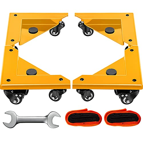 BestEquip Safe Dolly 3 Wheel (1 Locking & 2 Swivel), Cabinet Movers Set of 4 with Fixed Rope, for Lifting and Moving Furniture, Pool TableYellow