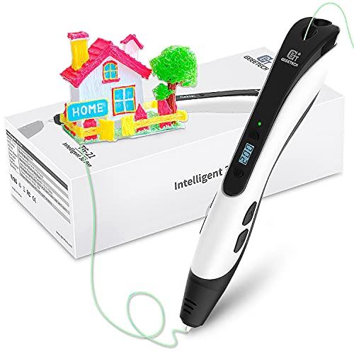 GIANTARM Geeetech Pluma de Impresión 3D, Bolígrafo 3D con Pantalla LCD, 8 velocidades y 6 botones, Temperatura Ajustable/Velocidad, regalo creativo (Negra)…