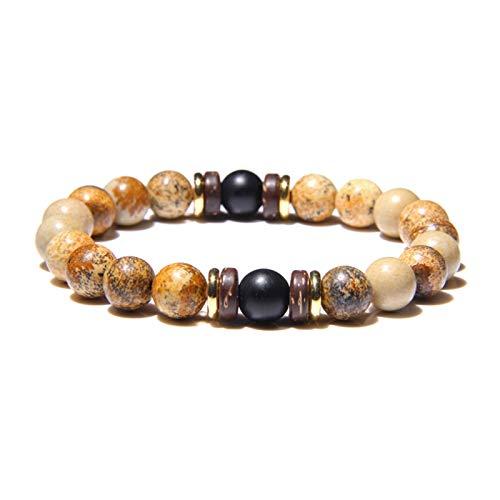 YCSC Pulsera Natural Moonstone Beads Tibetano Buda Pulsera Vintage Chakra Volcánico Lava Piedra Charm Pulsera Hombres Joyería (Length : 21CM, Metal Color : 30)