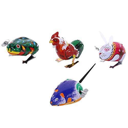 Tomaibaby 4 Piezas Juguetes de Cuerda Animales en Forma de Saltar Hierro Animal Reloj Cumpleaños Goody Bolsa de Relleno Juguete Preescolar para Niños Niñas Niños