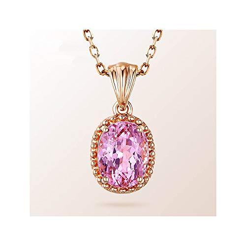 Cheryl Norri 925 joyería en Forma de óvalo turmalina Rosa Pendantklace para Las Mujeres de Oro Rosa Dulce de Color Encuentros de Geometría GIF