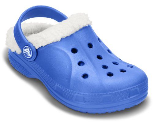 crocs Kids Unisex Ralen Lined Sea Blue and Oatmeal Clogs and Mules