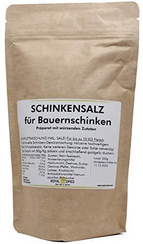 Royal Spice Schinkensalz für Bauernschinken - 500g für 10 Kg Fleisch - Fertige Gewürzmischung mit Pökelsalz zum Schinken machen - Einfache Anwendung & Ausgezeichneter Geschmack