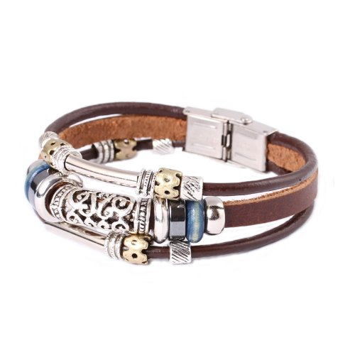 FAIRY COUPLE Triple Strand Leather Zen Bracelet with Bali Beads -19cm- L13