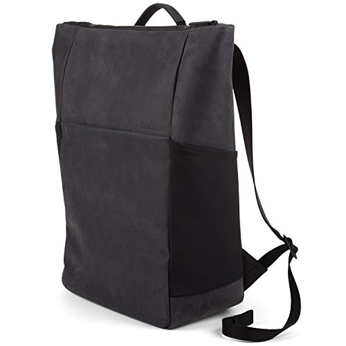Salzen Sleek Line Nubuk Leather Rucksack, 48 cm, 17 Liter, Charcoal Black