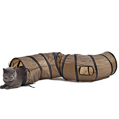 PAWZ Road XXL S Form größer Katzentunnel faltbar Katzenspielzeug mit 2 Wege und 2 Höhlen für Kleine Mittlere und Große Katzen,Kätzchen,Kaninchen130*30cm Braun
