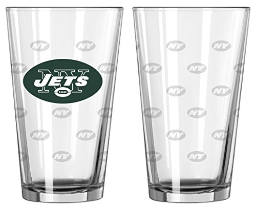 NFL Pint Glass Cup (Set of 2) NFL Team: New York Jets