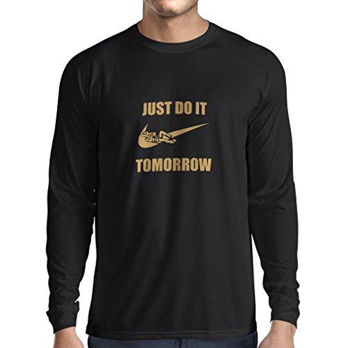lepni.me Camiseta de Manga Larga para Hombre Solo hazlo mañana, motivación del Entrenamiento, Frases Divertidas de la Parodia. (Medium Negro Oro)