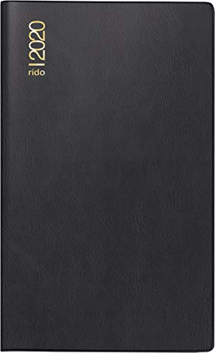rido/idé 704500290 zak-/vouwkalender GILET-planner (2 pagina's = 1 maand, 70 x 118 mm, kunststof omslag, kalender 202020) zwart