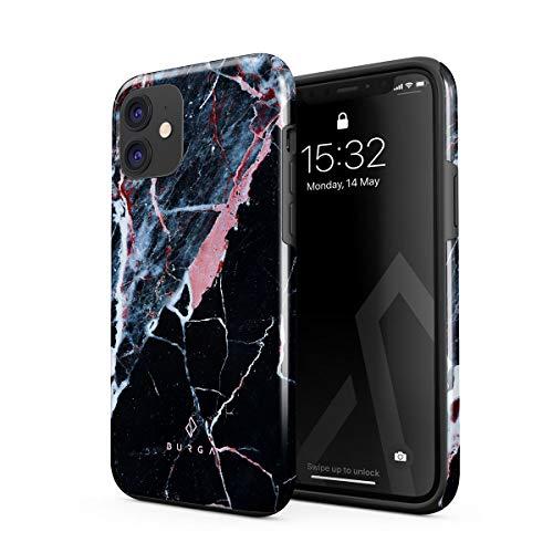 BURGA Funda de teléfono compatible con iPhone 12 – belleza oculta rosa melocotón y mármol negro lindo para niñas resistente a los golpes doble capa carcasa rígida + funda protectora de silicona