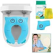 BelleStyle Asiento de Inodoro para Niños, Plegable Reductor WC Adaptador Asientos Inodoro Tapa WC de Entrenamiento con Bolsa de Transport para Casa, Viaje y Al Aire Libre para Bebés, Niños (Azul)