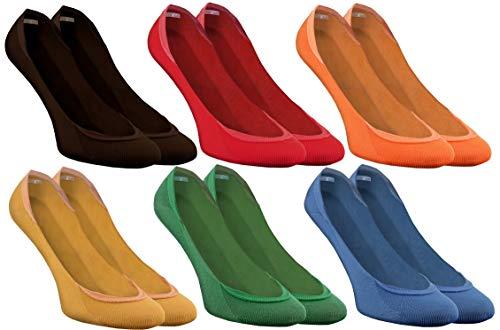 Rainbow Socks - Donna Uomo - Colorato Calze Ballerina Fantasmini - 6 Paia - Brown Rosso Arancione Gialo Verde Blu Marino - Taglia 42-44