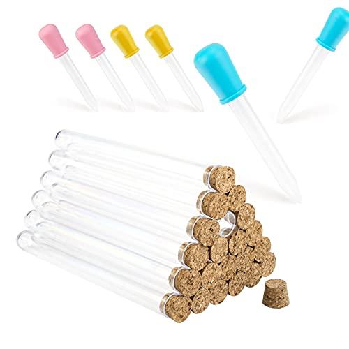 Reagenzglas mit Korken, 25 Stück Waschbar Reagenzgläser Kunststoff, Reagenzgläser für Blumen, Kommt mit 6 Stück 5 ml Pipette, Geeignet für Reagenzgläser für Gewürze, Feste und Hauptdekoration usw