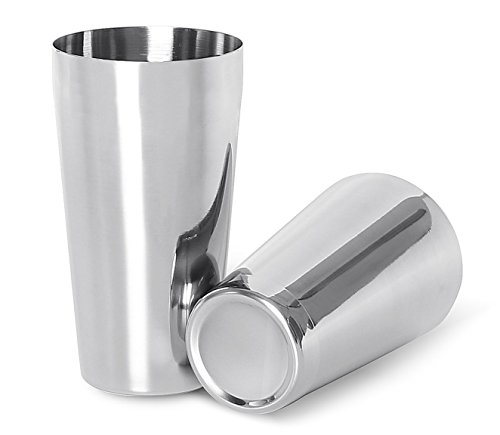 LANZON Boston Cocktail Shaker: 2-Piece All Stainless Steel Boston Shaker Tins, 18oz Weighted & 26oz Unweighted Boston Cocktail Shaker Bar Set for Professional Bartenders and Home Cocktail Lovers