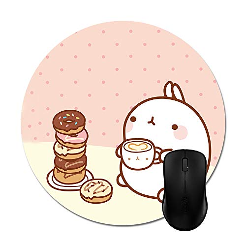 Goodaily Mousepad Royal Molang Cartoon Cute Rabbit Print Natural Rubber 8in Mouse Mat