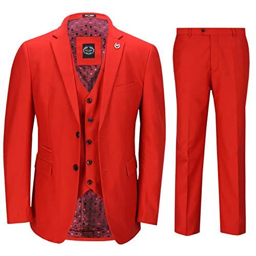 Xposed Completo da Uomo3 Pezzi da Uomo in Rosso Elegante Cerimonia Nuziale Convenzionale del Partito Retro vestibilità su Misura Giacca [SUIT-JROSS-RED-42UK]
