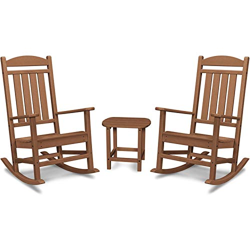 Hanover PINE3PC-TEK Pineapple Cay All-Weather Porch Rocking Chair Set Outdoor Furniture, Brown