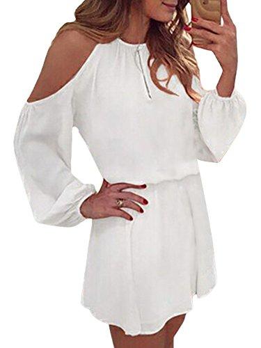 YOINS Sommerkleid Damen Kurz Schulterfrei Kleid Elegante Kleider für Damen Strandmode Langarm Neckholder A Linie Weiß-1 EU46(Kleiner als Reguläre Größe)