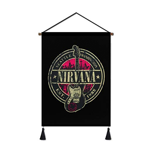 Nirvana Hanging Scroll Poster, Canvas Wall Art Decor Painting Home Decoration Artwork Print for Living Room Dining 18x26in