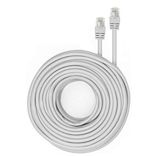 Tonton 60 Feet CAT6 Cat6e Ethernet Patch Cable - RJ45 Computer Router Network Internet Wire PoE Switch Cord for Computer, PoE Camera, NVR, Router, Modem, Switch(60 Feet, White)