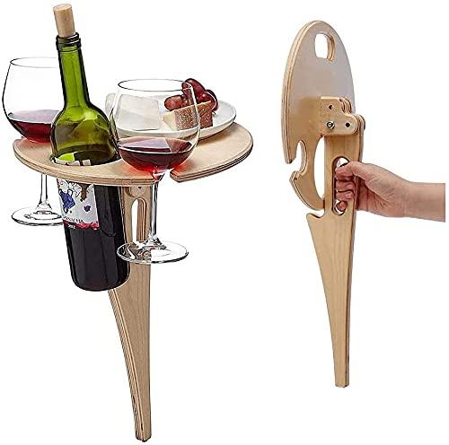 Duyifan Mesa de Vino al Aire Libre de Bambú, Estante para Vino al Aire Libre Estante para Vino Portátil para Picnic al Aire Libre, para Colocar Copas de Vino, Botellas de Vino y Platos