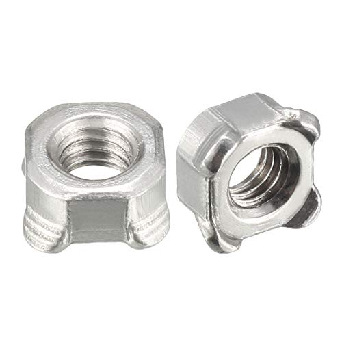 uxcell Weld Nuts,M6 Square UNC Coarse Carbon Steel Machine Screw Silver Pack of 100