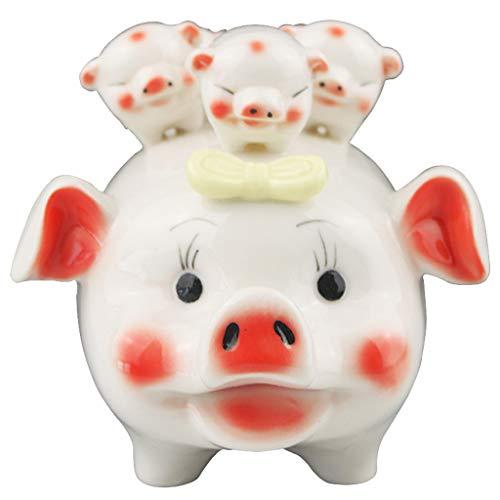 piggy bank Hucha pequeña, Hucha de decoración de cerámica de Dibujos Animados creativos multifuncionales, cumpleaños para niños