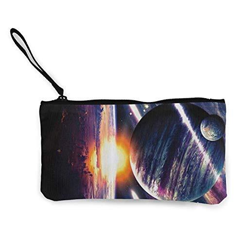 Moon Planet Earth Space Magical Stardust Portamonete Mini Pouch Cambio Portafoglio Multifunzionale Porta Carte Sacchetti Matita Cosmetici Contanti con Cinghia